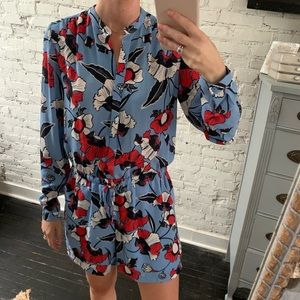 Floral Long Sleeve Romper - Great for Work!